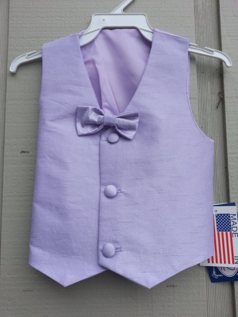 Sale! Silk Vest w Clip-On Bow Tie - Lilac
