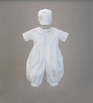 Boy's Cotton Christening Romper Set Close-Out