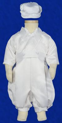 Boy's Christening Satin Romper Set