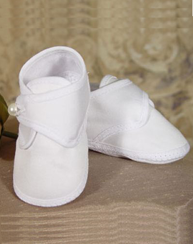 Baby Boy Cotton Sateen Christening Booties