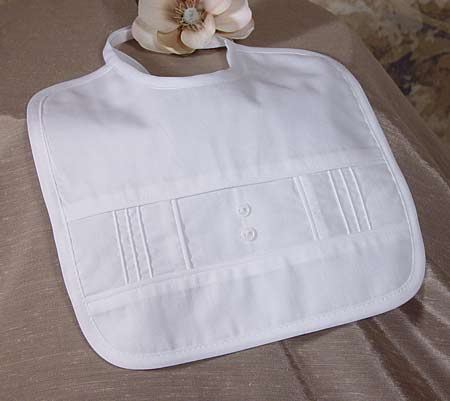 Boy's Cotton Broadcloth Christening Bib