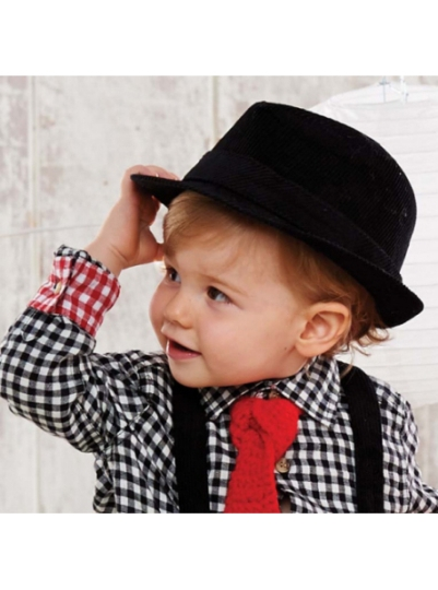 Corduroy Toddler Boy Trilby Fedora - Black