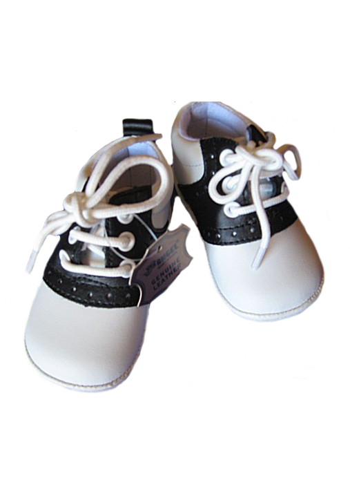 Angel Baby Black Leather Saddle Shoes