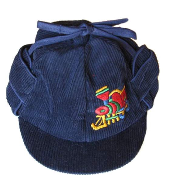 Close-Out Corduroy Hat w Earflaps & Train - Navy