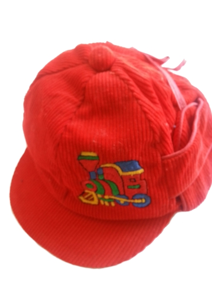 Close-Out Corduroy Hat w Embroidered Train - Red