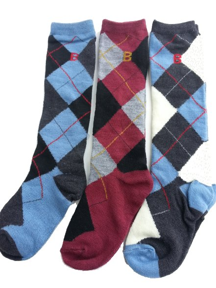 3 - Pair Pack of Boys Cotton  Argyle Knee Socks