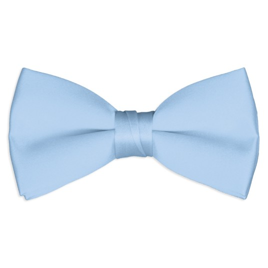 light-blue satin bow tie