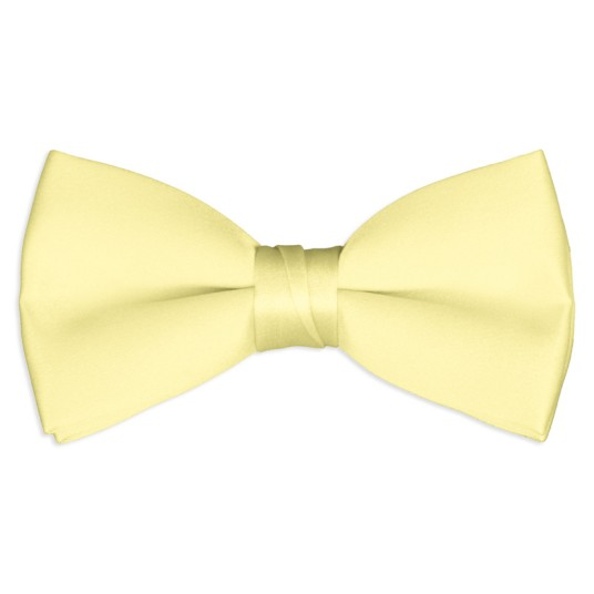pale yellow satin bow tie
