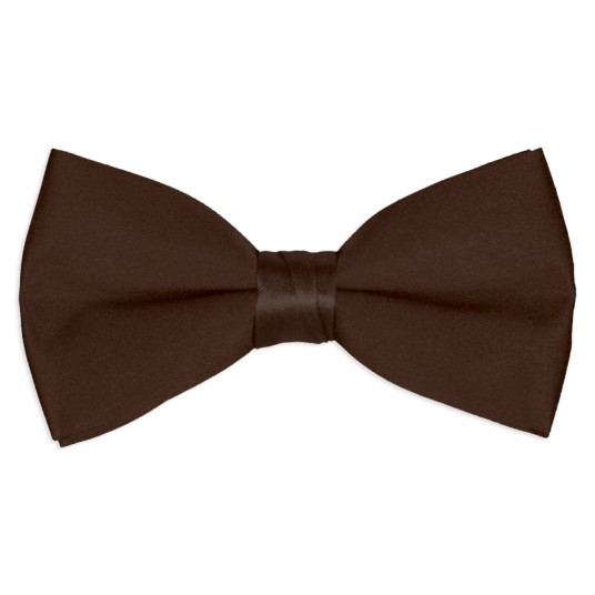 chocolate-brown satin bow tie