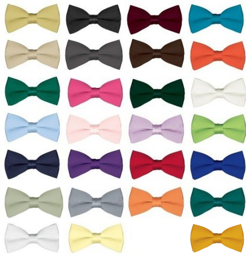 Boy's Solid Color Satin Bow Ties