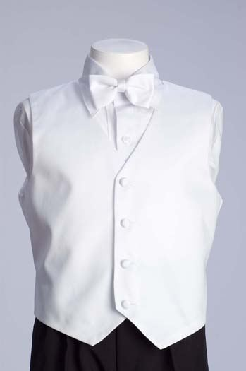 White Full Satin Vest With Bow Tie & Tie