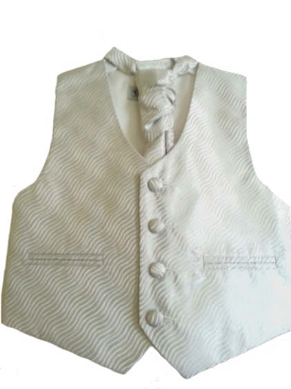 English Vest w Ruche Tie Cravat - Silver